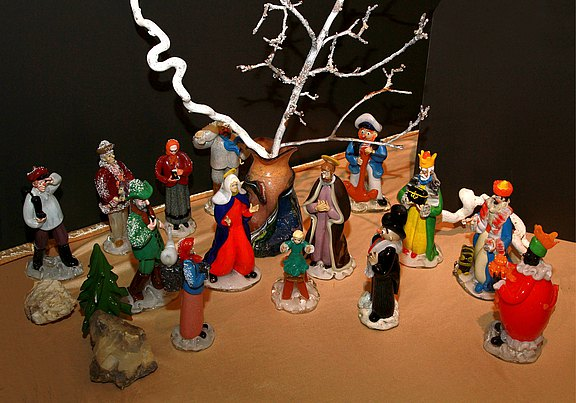 Czech moulded glass nativity scene